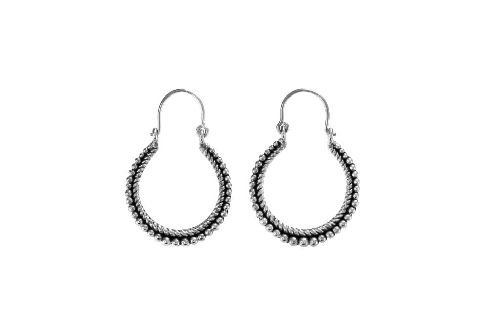 Gypsy tribal silver hoops by Hill to Street