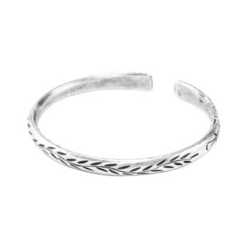Leaf pattern silver cuff bracelet by Hill to Street