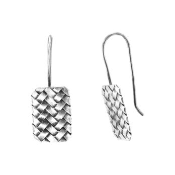 Minimalist square weave silver drop earrings by Hill to Street