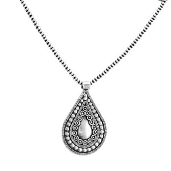 Tribal teardrop pendant with beaded silver necklace