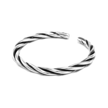 Handmade twisted silver wire cuff bracelet by Hill to Street