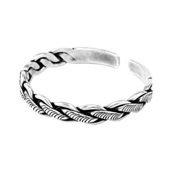 Carved braided silver bracelet by Hill to Street