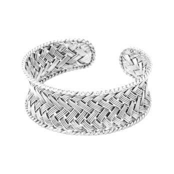 Thick hand woven silver cuff bracelet by Hill to Street