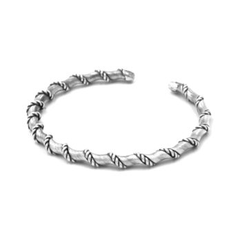 Handmade twisted silver bracelet by Hill to Street