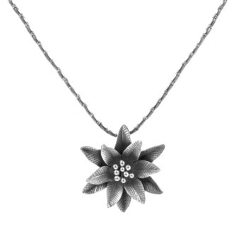 Silver flower pendant with beaded necklace by Hill to Street