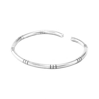 Adjustable thin minimalist silver cuff bangle from Hill to Street