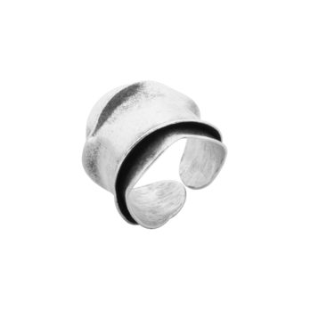 Adjustable open-cuff organic shaped silver ring