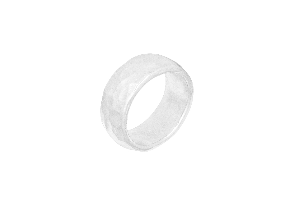 Rounded hammered silver band ring by Hill to Street