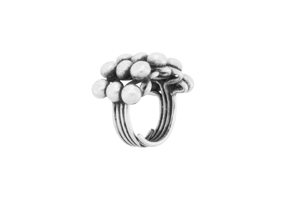 Adjustable multi silver ball ring by Hill to Street