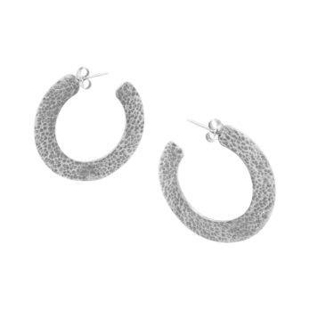Flat hammered sterling silver hoop earrings by Hill to Street