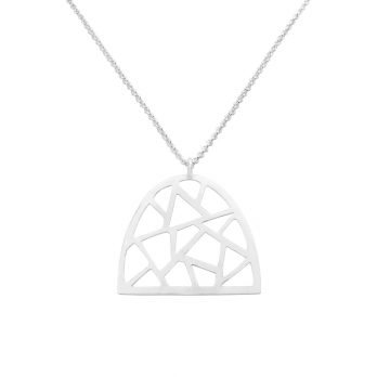 Geometric cut-out silver necklace by Hill to Street