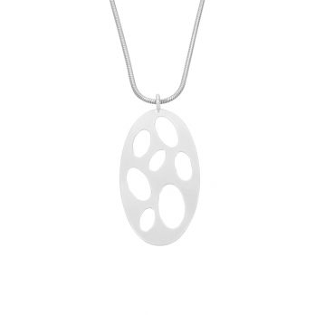 Handmade oval cut-out silver necklace by Hill to Street