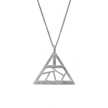 Handmade triangle cut-out silver necklace by Hill to Street