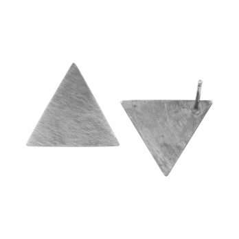 Triangle silver stud earrings by Hill to Street