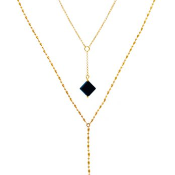 Stacked gold plated sterling silver necklace set with balck onyx