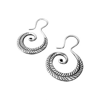 Tribal spiral silver drop earrings with unique shape and hilltribe cultural touch