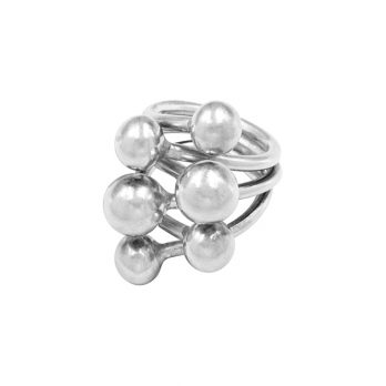Silver balls statement ring