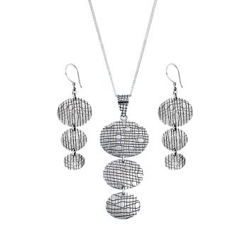 3-tier pendant necklace and earrings set