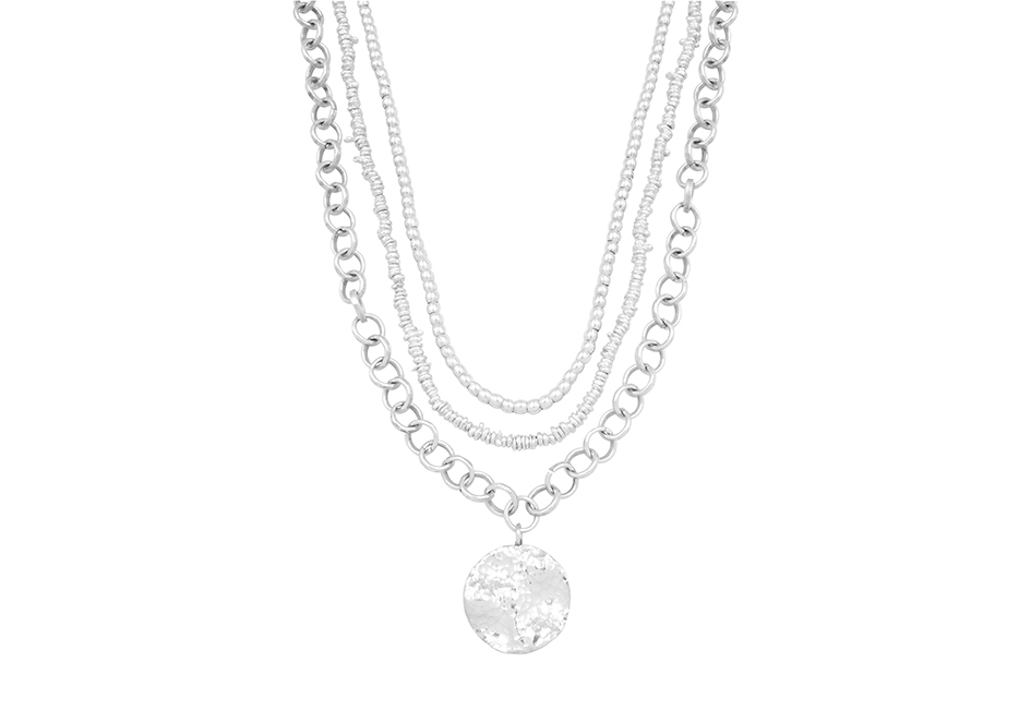 3 in 1 silver multi-strand chain beaded necklace