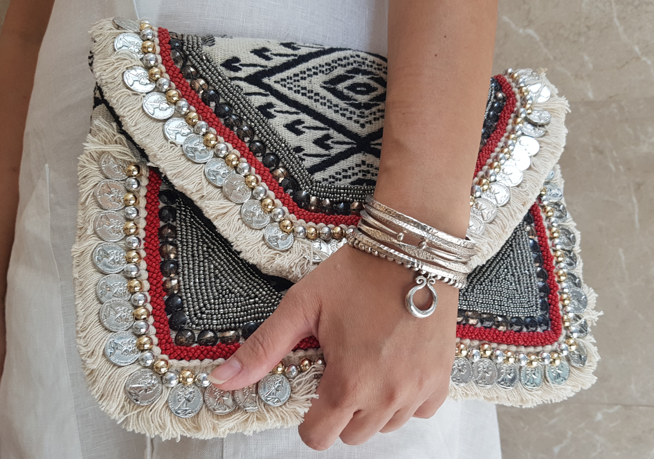Bracelet stack with silver open cuff bangle