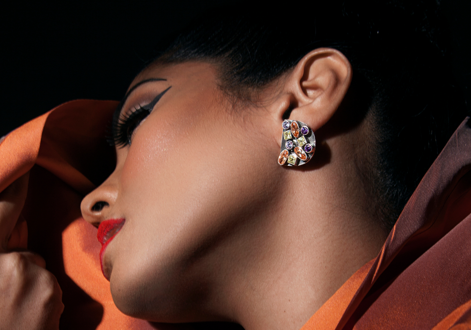 Anuja wearing Suri studs by Hill to Street