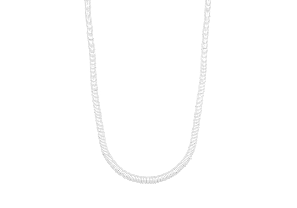 Solid flat round beaded necklace