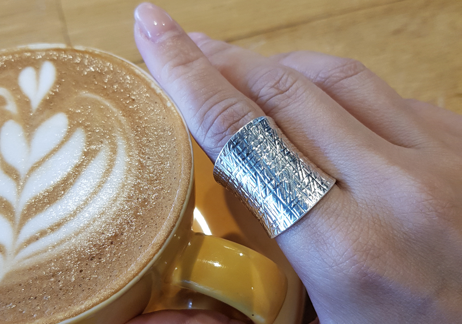 Becca ring from Hill to Street on Index finger