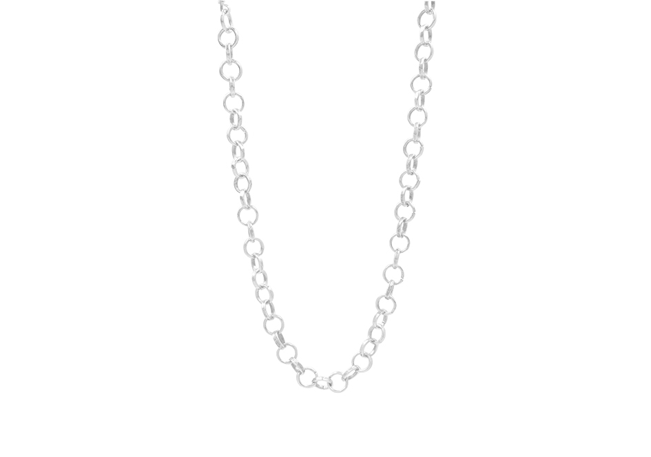 Hammered silver chain necklace
