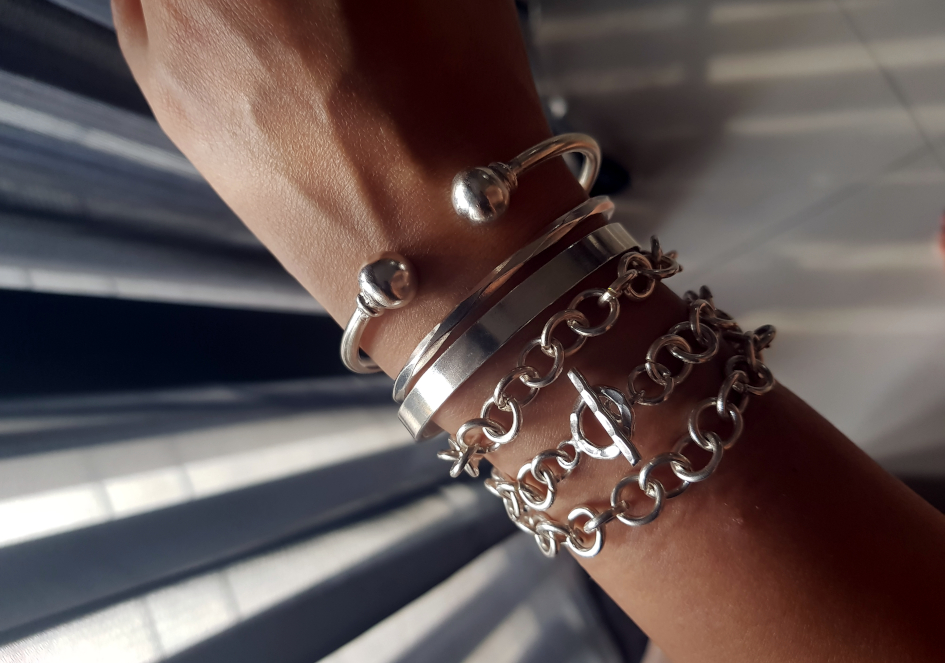 Bracelet stack with Hill to Street silver chain bracelet