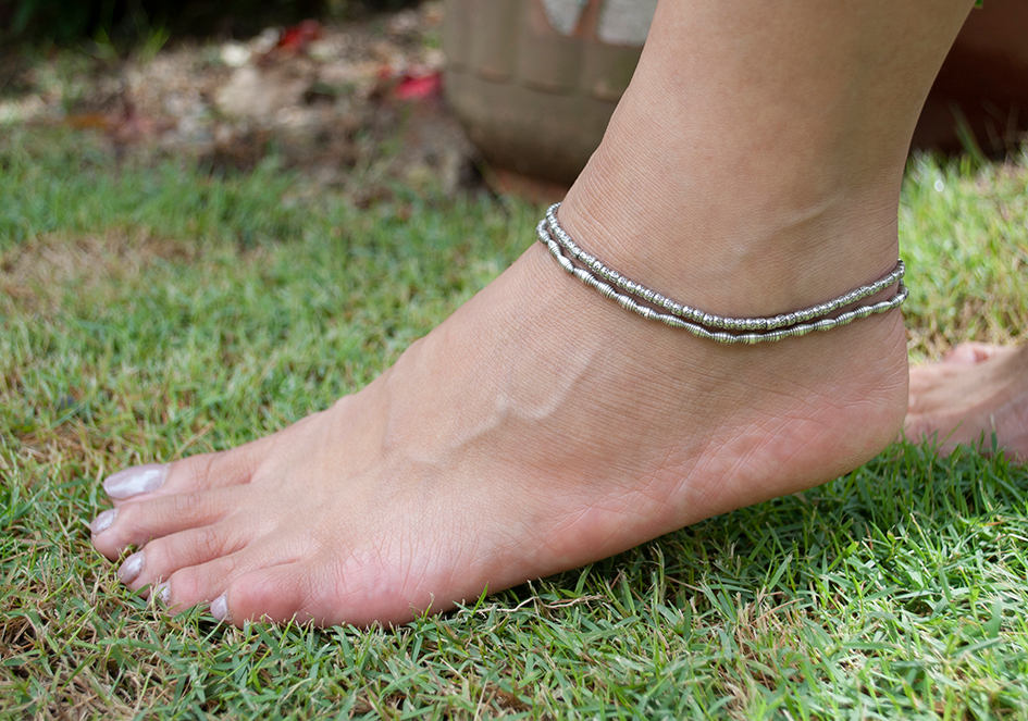 Model wearing double strand silver anklet from Hill to Street