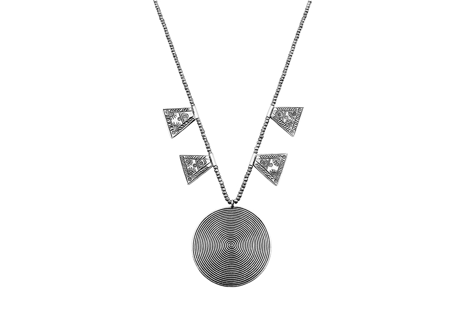 Tribal pendants beaded silver necklace by Hill to Street