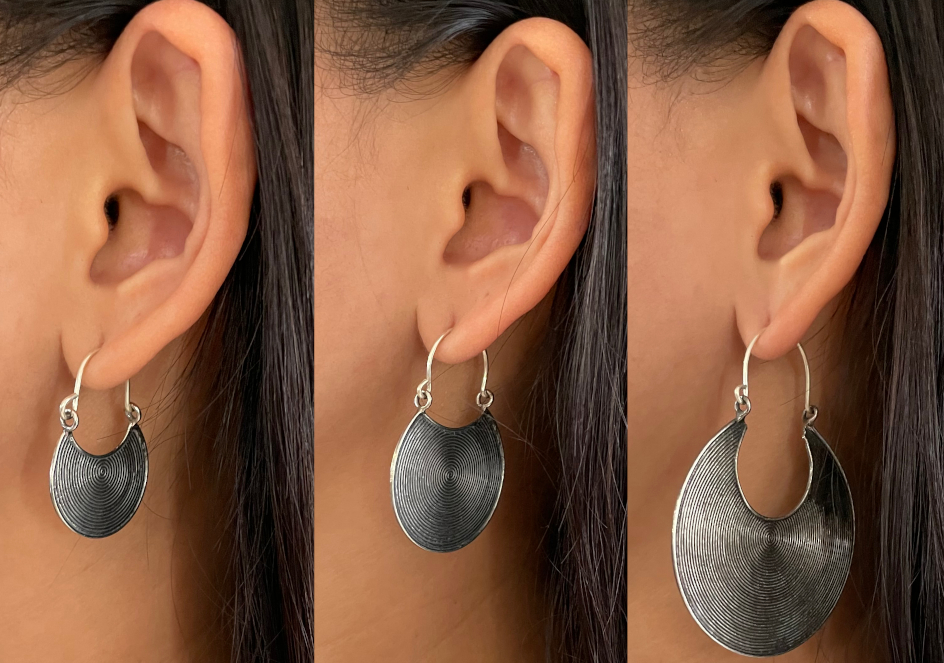 Tribal disc statement earrings in different sizes